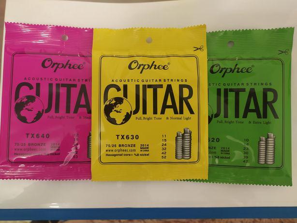 Струны Orphee для акустической гитары, бронза