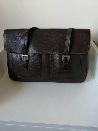 Mala de mão ou ombro, pele, marca Longchamp, castanha, com 7 divisória