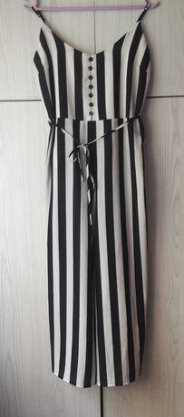 Pasiasty letni kombinezon ze spodniami czarny biały w paski New Look