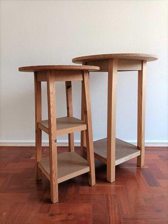 Mesa alta redonda em madeira