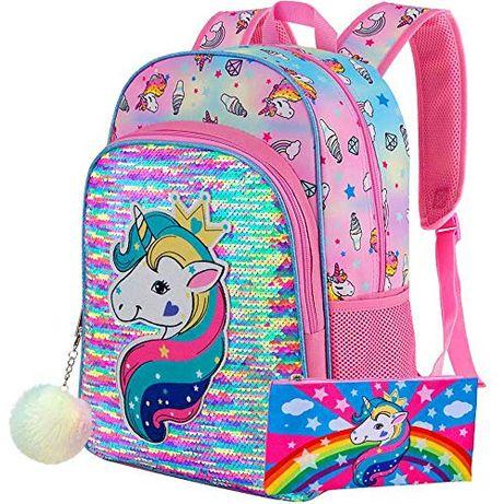 Бомбезный яркий красочный новый школ.рюкзак Unicorn с пеналом и брелко