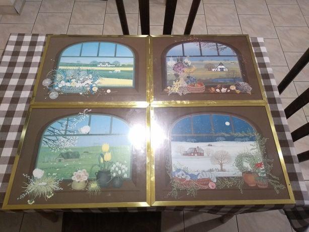 Obrazki do pokoju dziecięcego obrazy komplet 4 pory roku Lato Zima