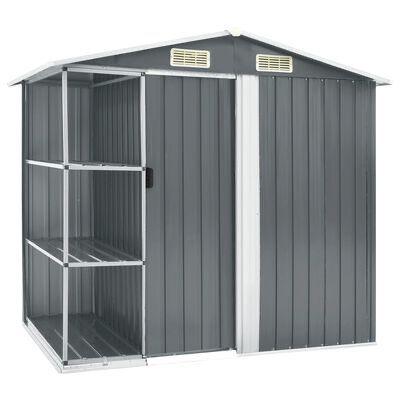 Abrigo de jardim c/ prateleiras 205x130x183 cm ferro cinzento