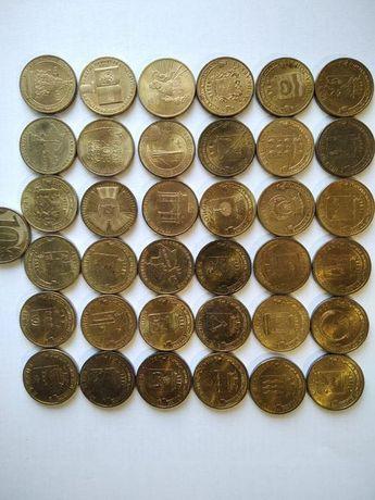 Десять рублей. Юбилейные монеты. Россия. 36 штук.