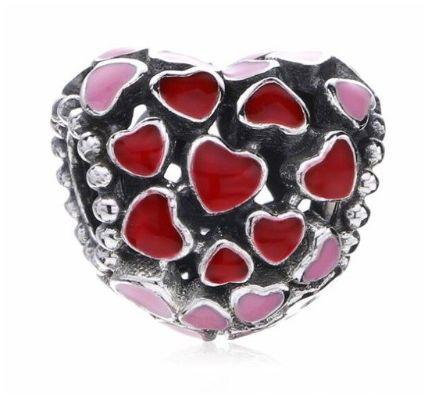Charms PANDORA Srebro 925 serce miłość serduszka ażurowe emalia