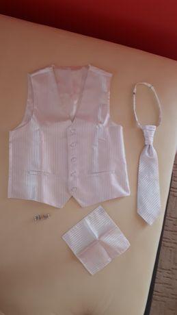 Kamizelka i krawat + spinki do mankietów ślubny