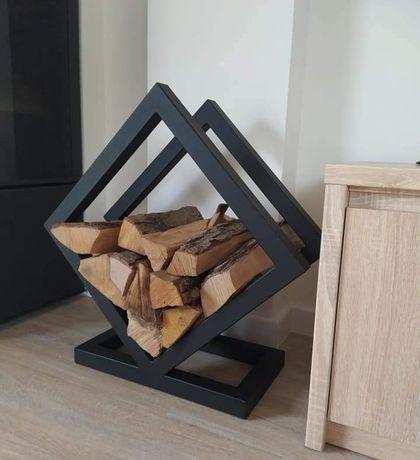 Stojak,kosz,kominek, na drewno do kominka metalowy solidny
