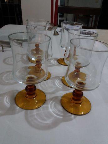 6 copos muito antigos de pé com cor