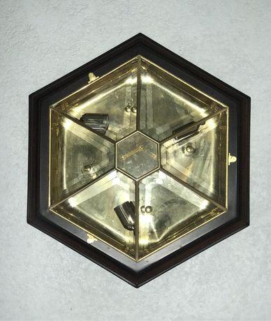 Candeeiro de teto (vidro e letão)
