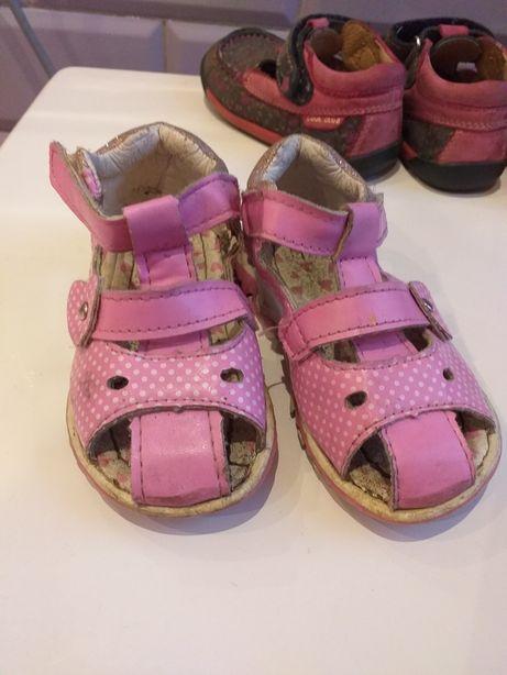 Sandałki Buciki dziewczęce różowe 22 na rzepy