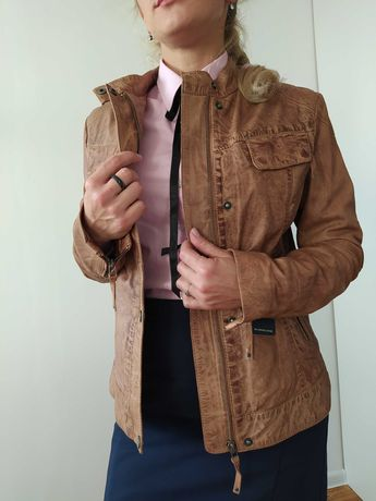 Kurtka skórzana, brązowa kurtka ze skóry, cieniowana rozmiar L
