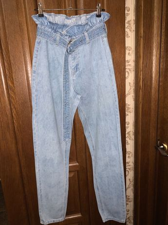 Джинсы/МОМ джинсы/Голубые джинсы/Джинсы с конфетным поясом