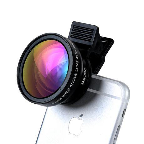 Obiektyw 2w1, Macro + Szerokokątny do Smartfona, Tabletu
