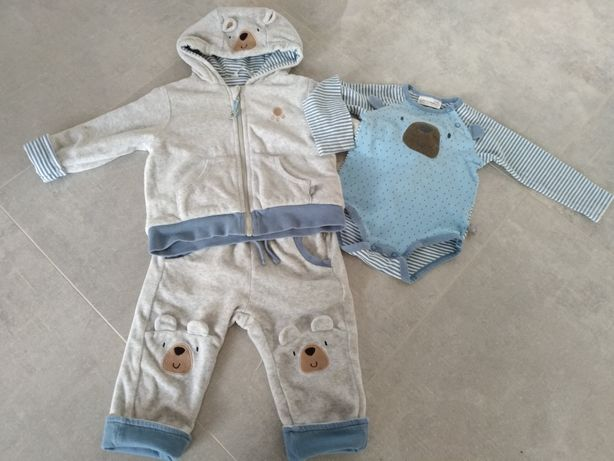 Komplet Coccodrillo ciepła bluza i spodnie, body rozm. 74