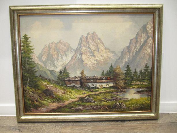 Obraz olejny. Pejzaż Alpejski