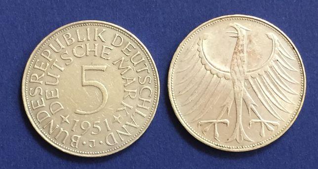 2 moedas 5 Marcos - Alemanha - 1951-J e 1971-G, prata