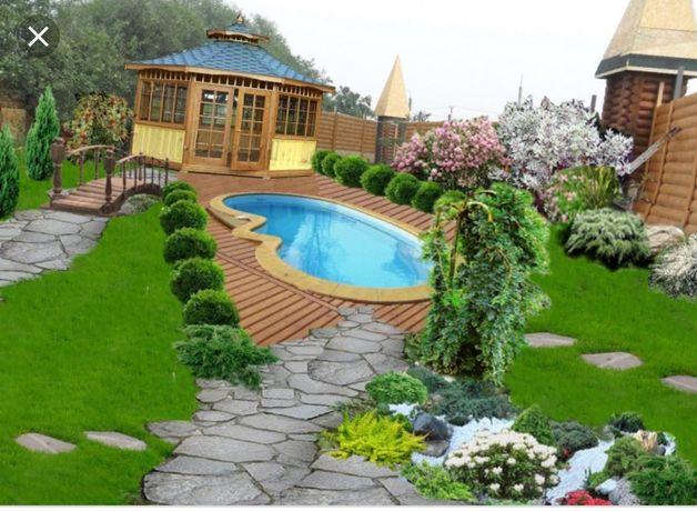 Ландшафтный дизайн, озеленение, укладка газона, пруды,фигурнаястрижка
