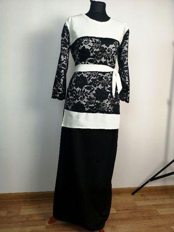 Komplet maxi Tanio M/L okazja piękny koronka czarny biały