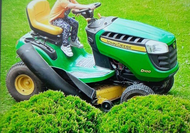 Kosiarka traktorek John deere z przyczepką