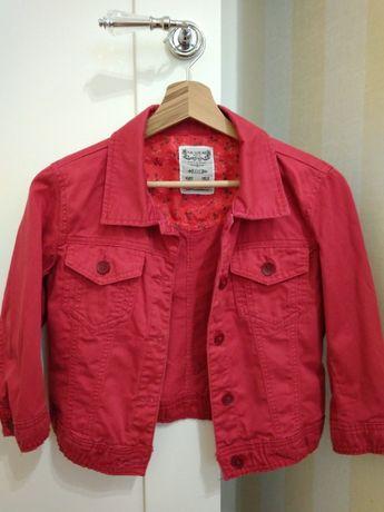 Czerwona kurtka jeansowa Pull&Bear