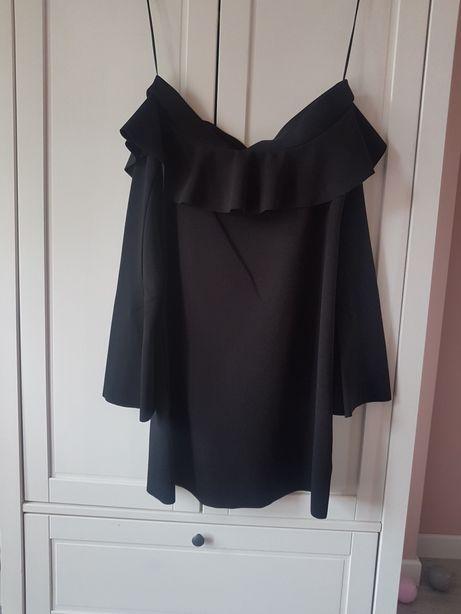 Sukienka czarna ZARA xs jak nowa szeroka mini falbana