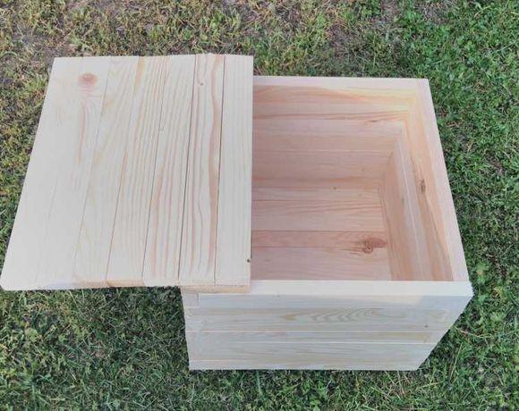 Naturalna drewniana skrzynka, kuferek, siedzisko ogrodowe - Wysyłka