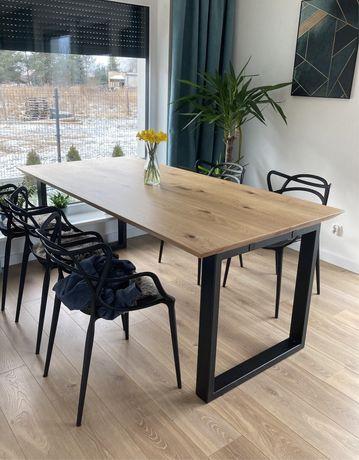 Stół dębowy rozkładany metalowe nogi styl loft producent różne