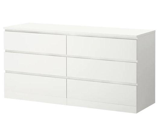 MALM Nowa! Komoda z ikea 6 szuflad biały 160x78 cm
