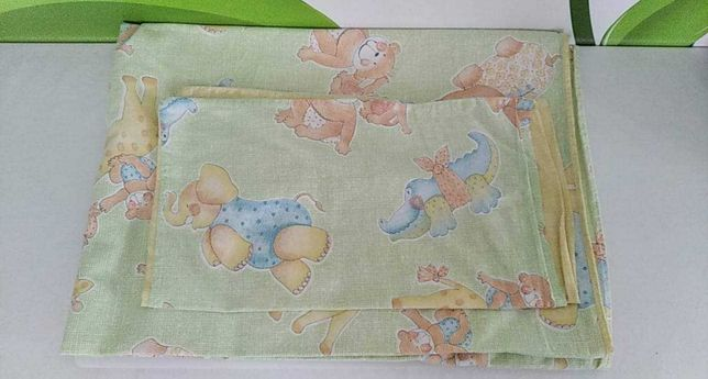 Pościel niemowlęca pastelowa żółto-zielona - motyw zwierzątka