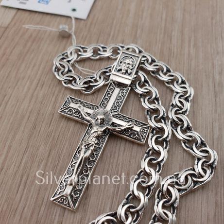 Комплект! Мужская серебряная цепочка и крестик. Цепь и кулон серебро