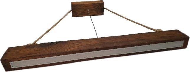 Lampa drewniana belka ze sznurem