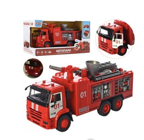 """Пожарная металическая машина стреляет водой """"Play Smart"""", свет, звук"""