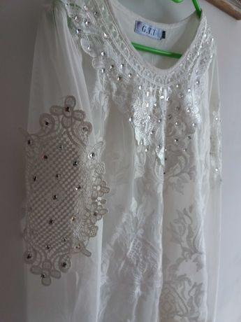 Bluzka M/ L 40 42 biała z haftem