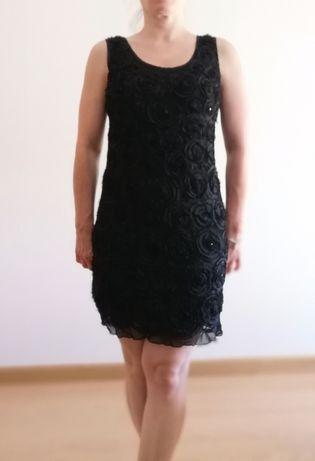 Vestido de festa com relevos - Preto - Tamanho S/M