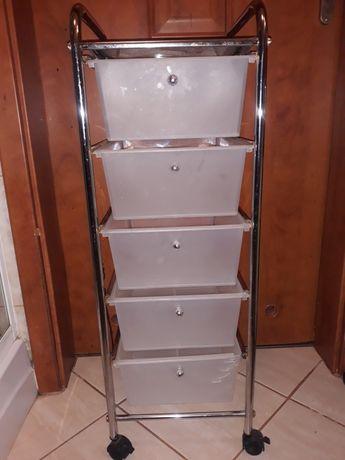 Regał kosmetyczny na kółkach 5 pojemnych szuflad