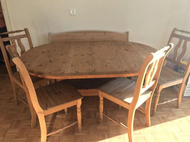 Stół z krzesłami do jadalni - drewno sosnowe