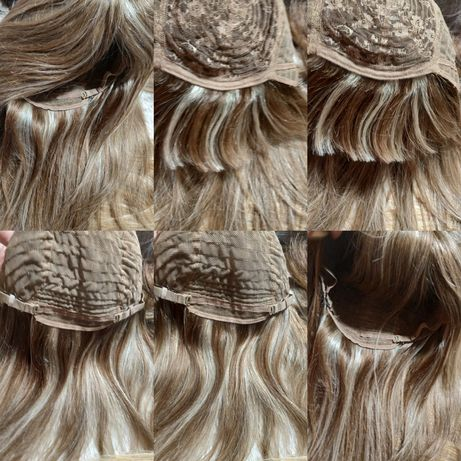 Натуральный парик детские славянские волосы 45см мелирование