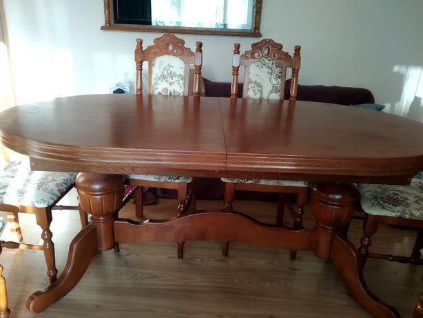 stół duży rozkładany plus 6 krzeseł