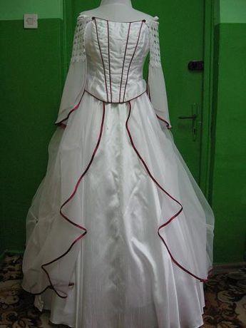 Suknia ślubna biała z bordo ozdobami r.36