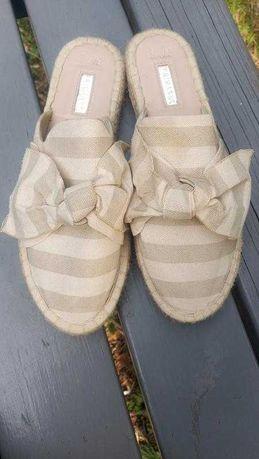 Мюли эспадрильи шлепанцы текстильные сандали с бантом primark