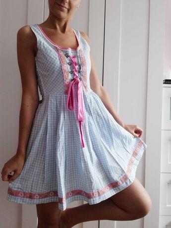 Sukienka bawarska folk vintage kratka w kratkę retro biała haft M