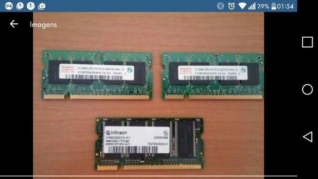 Memórias para portátil 2x512mb pc4200 1x256mb pc2700