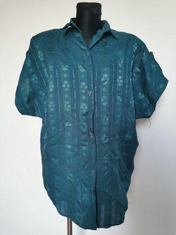 Koszula wzorzysta butelkowa zieleń