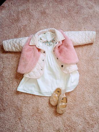 Komplet sukienka, kurteczka, kamizelka i buciki np. Na roczek