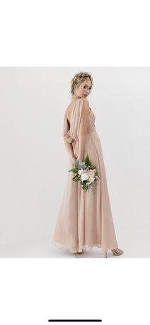 Nowa sukienka maxi koktajlowa wesele XS 34 nude