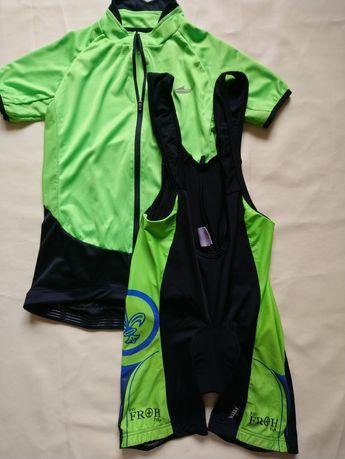 Дитячий велокостюм на ріст 158 см, велошорти на лямках і велофутболка
