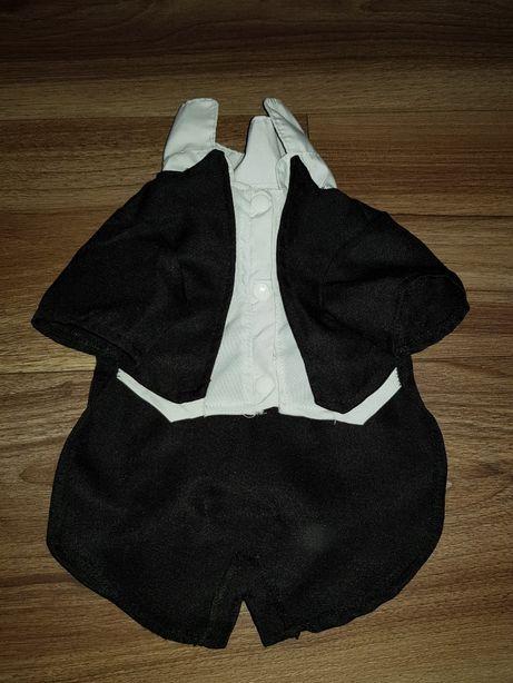 Ubranko czarno białe z kokardkami dla pieska