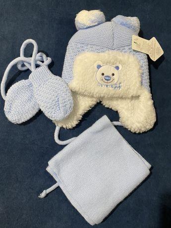 NOWY Zestaw zimowy czapka, szalik i rękawiczki z WEŁNĄ