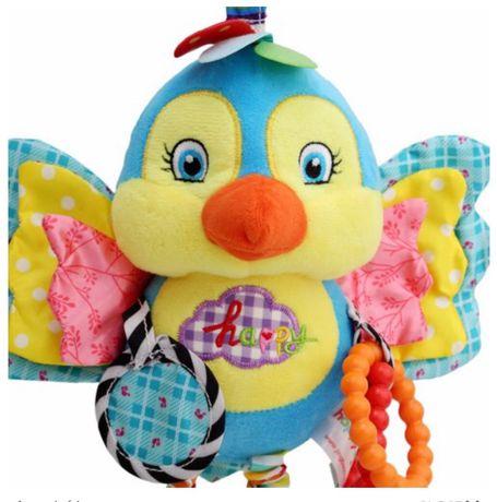 Погремушка подвеска игрушка в коляску кроватку мягкая Happy Попугай