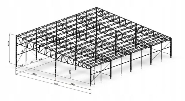 Używana konstrukcja stalowa - 40X50m-2000m2